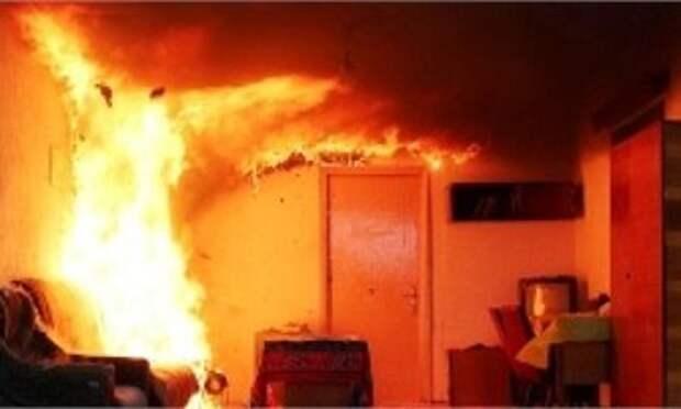 На пожаре в двухкомнатной квартире под Череповцрм пострадала женщина