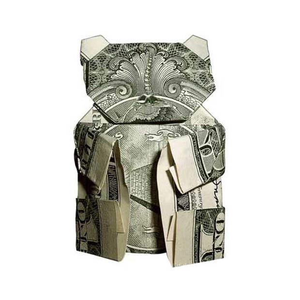 Оригами из денег - котэ