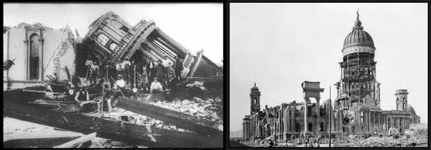Справа фотография мэрии Сан-Франциско после великого землетрясения 1906. Слева, тоже, кто-то упал.