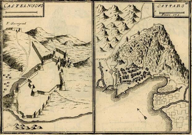 Кастельнуово и Каттаро в «Атласе Мореи» Коронелли 1680‑х годов. Укрепления Кастельнуово, как кажется, остались практически без изменений по сравнению с 1538 годом. Укрепления Каттаро дополнены бастионами позже. Масштабная линейка Кастельнуово без обозначений, Каттаро — 175 венецианских саженей или около 305 м - Превеза: Священная лига ставит точку | Warspot.ru