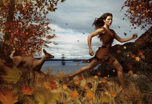 Annie Leibovitz: Джессика Бил в образе Покахонтас