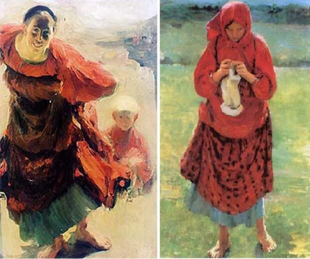 Баба с ребенком. / Крестьянская девушка с чулком. Автор: Ф.Малявин.