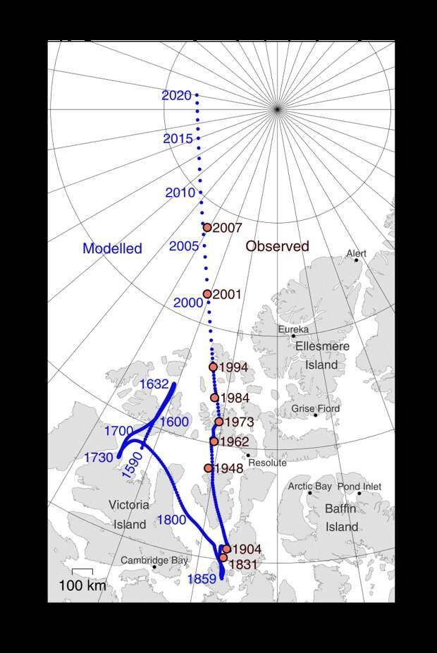 Северный магнитный полюс перемещается из Канады в Сибирь