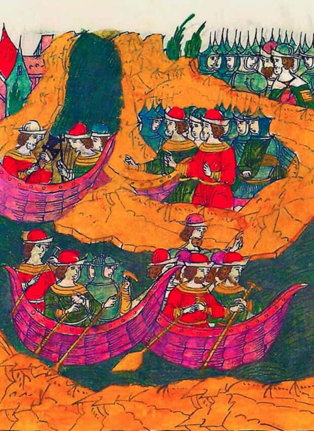 Матвей Ржевский и его казаки строят струги и сплавляются по Пслу. Миниатюра из Лицевого свода, том 22 - «Война двух царей»: разведка | Warspot.ru