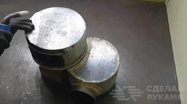 Двухконфорочная печь из газового баллона и металлолома