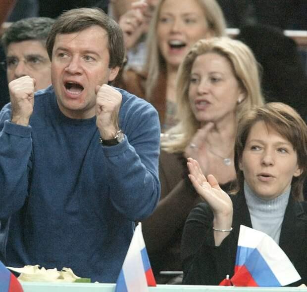 Татьяна Дьяченко иВалентин Юмашев вовремя финального матча Кубка Дэвиса. 27ноября 2002 года