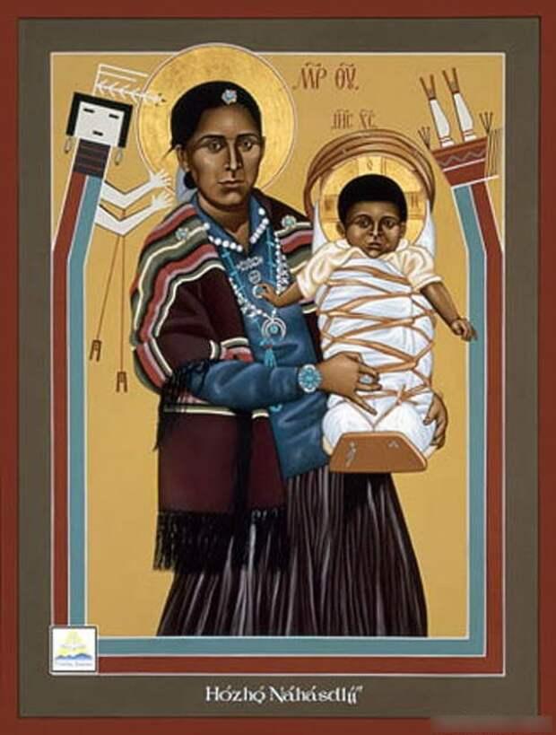 Мадонна с Иисусом на руках (индейское племя навахо, США, Нью-Мексико)