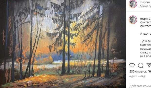 Художница пишет пейзажи с красотами Северного и  сопровождает их эссе