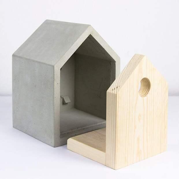 кормушка скворечник из бетона