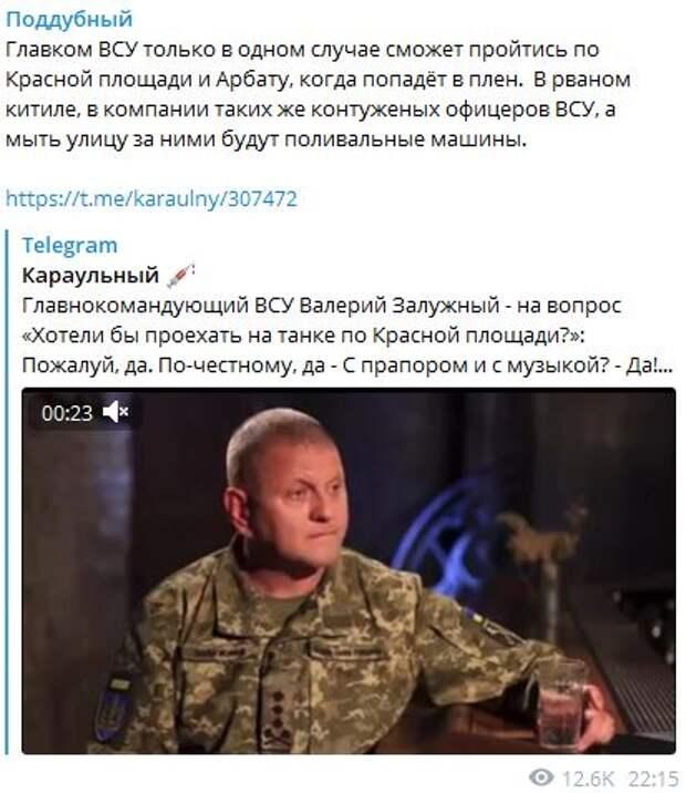«В рваном кителе и пешком»: Военкор рассказал, как главком ВСУ может попасть в Москву