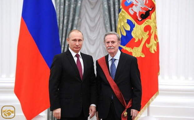 Президент Российской Федерации Владимир Путин и Юрий Соломин