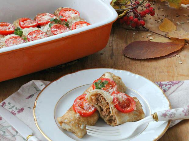 Фото к рецепту: Запеченые блинчики с начинкой