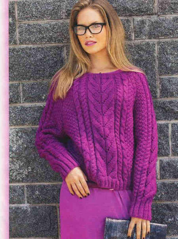 Пуловер с косами цвета фуксии