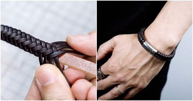 Крутой кожаный браслет своими руками: необычная и предельно простая техника плетения