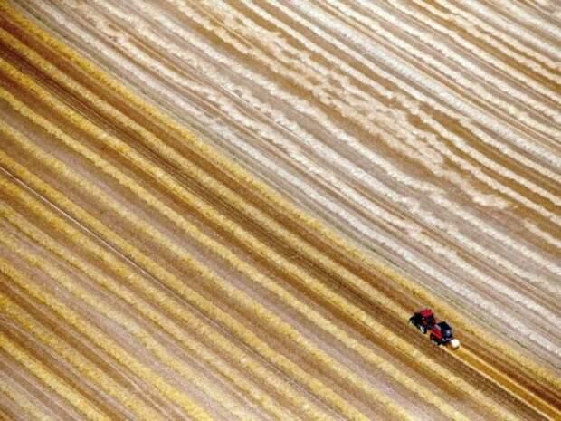 Фермер использует свой трактор для сбора тюков сена после сбора урожая пшеницы.