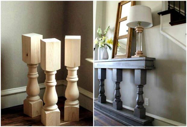 Столик с колоннами.