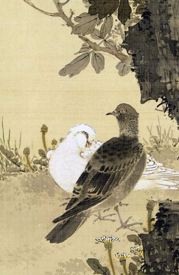 Doves and Peonies (detail). (454x695, 309Kb)