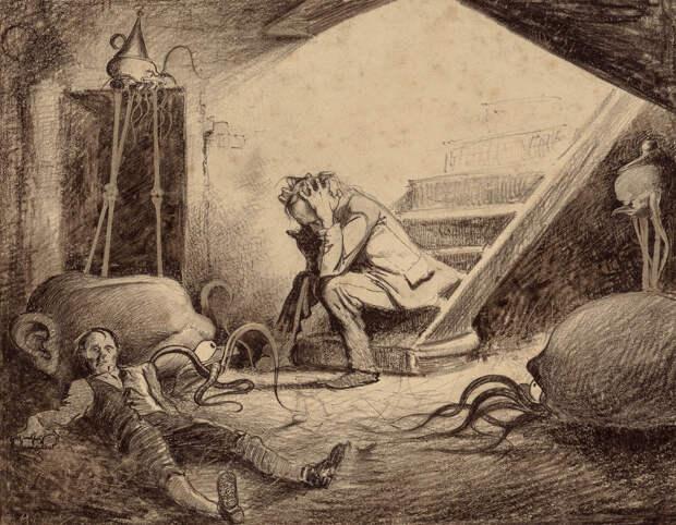 Смерть викария Герберт Уэллс, война миров, иллюстрации, история