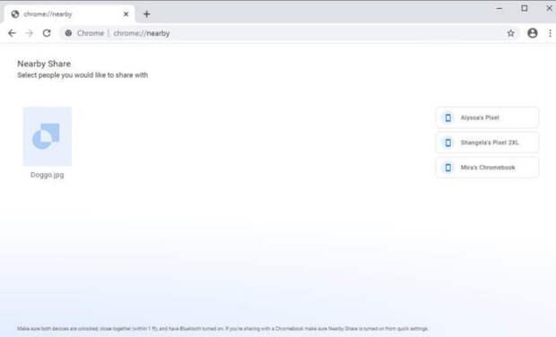 Google тестирует функцию Nearby Share в браузере Chrome для Windows 10