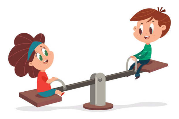 Kids on a wooden seesaw. Vector cartoon illustration of a cute boy and girl playing on a swing isolated on a white background. Seesaw and children vector cartoon illustration. seesaw teeter totter stock illustrations