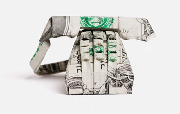 Оригами из денег - телефон