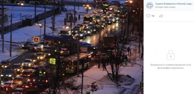 Столкновение автобуса и легковушки у парка «Братцево» парализовало движение транспорта