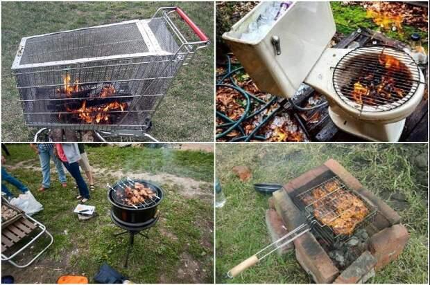 Простейший мангал/барбекю можно сделать из подручных средств и самых неожиданных вещей. | Фото: pinterest.com.