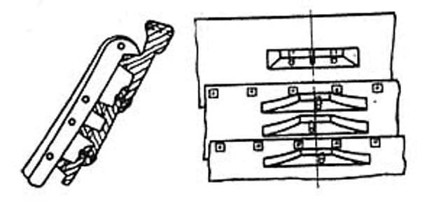 Верхние пояса обшивки со шпангоутом и клампами. (На рисунке отсутствует банка, которая накладывалась на верхний кламп и крепилась двумя деревянными нагелями)