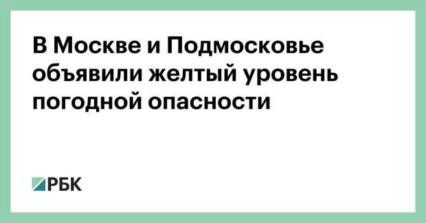 В Москве и Подмосковье объявили желтый уровень погодной опасности