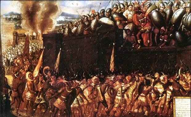 На фото: штурм испанской резиденции и смерть Монтесумы. Картина неизвестного художника, вторая половина XVII века