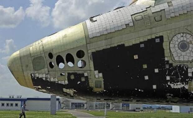 """На фото: фрагмент орбитального многоразового корабля """"Буран"""""""