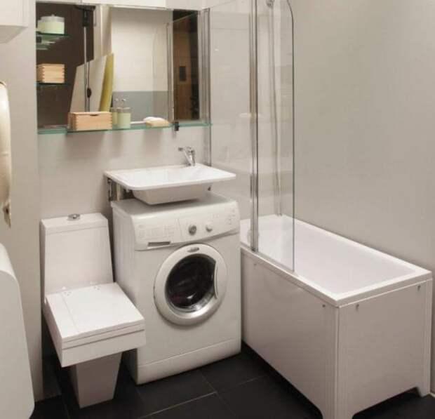Варианты расположения стиральной машинки, если в ванной для этого не хватает места