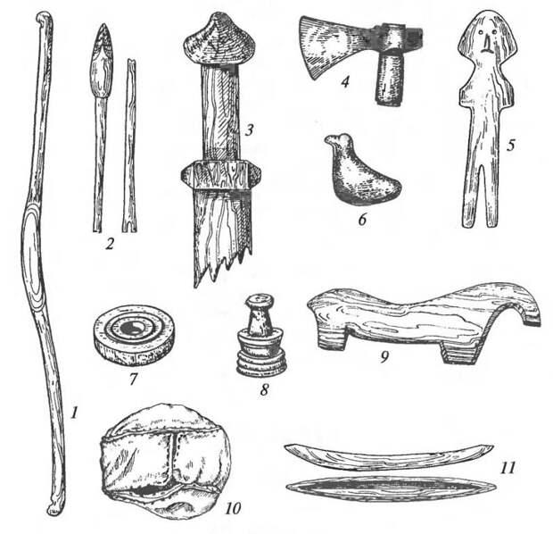 Игрушки: 1 — лук; 2 — стрелы; 3 — навершие меча; 4 — железный топорик; 5 — кукла; 6 — глиняная свистулька; 7 — шашка; 8 — шахматная фигура; 9 — коник; 10 — кожаный мячик; 11 — лодочка (1-3, 5, 9, 11 — дерево; 7,8 — кость)