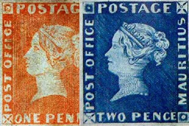 Первые две марки Маврикия (1847 г.)