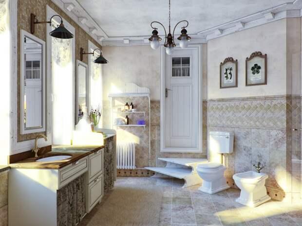 Стиль Прованс в интерьере: светлая плитка в уборной