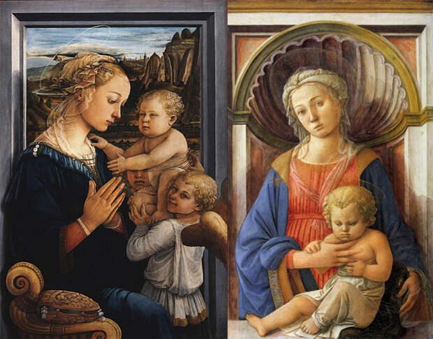 Мадонну с младенцем Липпи писал со своей жены и сына.