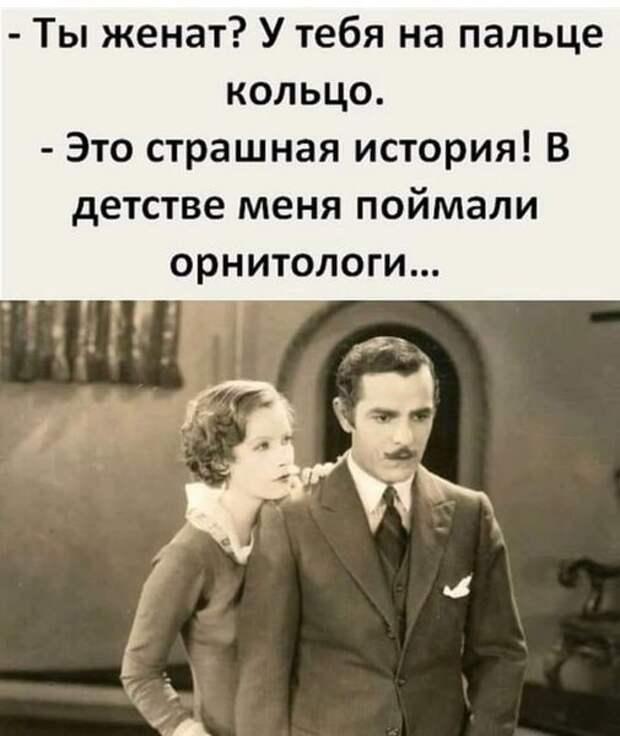 Возможно, это изображение (2 человека и текст «ты женат? у тебя на пальце кольцо. -это страшная история! в детстве меня поймали орнитологи...»)