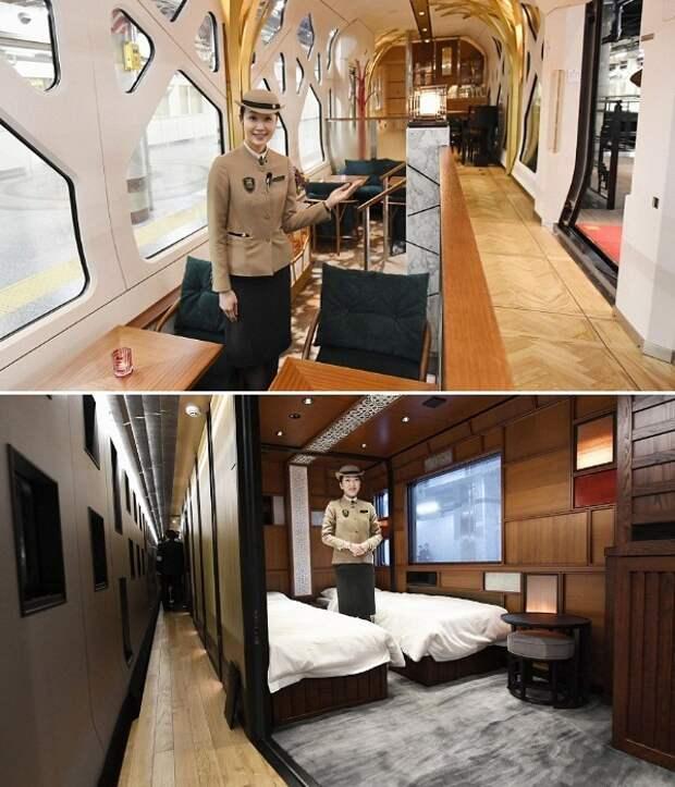 На протяжении всего пути гостей поезда будет опекать приветливый и прекрасно обученный персонал (Train Suite Shiki-shima). | Фото: travelbook.rs.