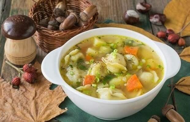 Суп с магазинными пельменями