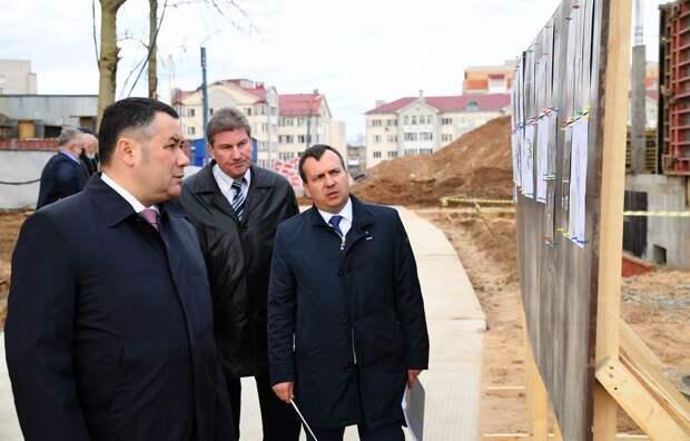 Игорь Руденя побывал на площадке строящегося детского сада на улице Склизкова в Твери
