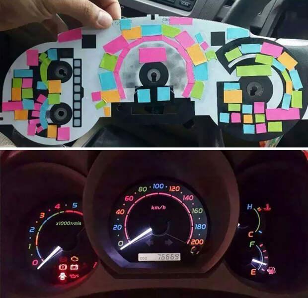 Разноцветная приборная панель автоприкол, творчество, тюнинг