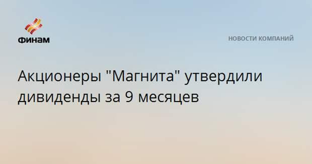 """Акционеры """"Магнита"""" утвердили дивиденды за 9 месяцев"""