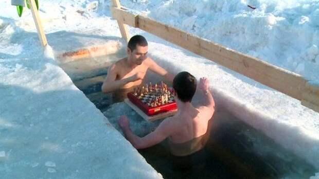 Очень опытные и, по всей видимости, счастливые зимние купания, интересно, моржи, эмоции