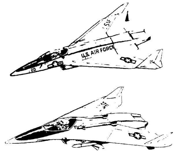 Два финальных варианта истребителя «Боинг Модель 985 Микрофайтер». Обратите внимание, что у самолёта с изменяемой стреловидностью ракеты AIM-9 расположены открыто, на точках подвески на гаргроте - Симбиоз небесных гигантов и карликов   Warspot.ru