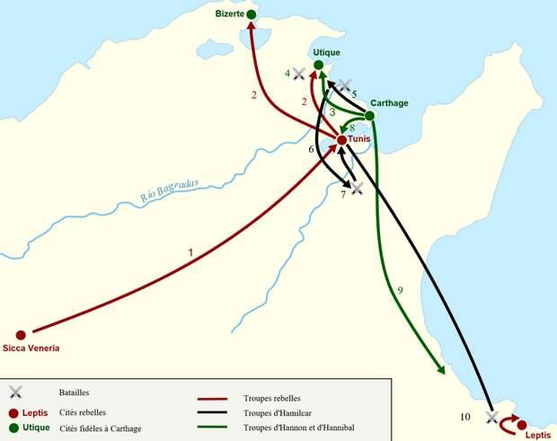Картина войны. Красным обозначены мятежные города, зелёным — лояльные Карфагену. Красные линии — перемещения мятежников, чёрные — Гамилькара, зелёные — Ганнона и Ганнибала. Основные события: 1 — наёмники восстают и занимают Тунис; 2 — осада Утики и Гиппакрита; 3 — Ганнон снимает осаду с Утики; 4 — битва за Утику. Ганнон побеждён; 5 — Гамилькар покидает Карфаген и побеждает мятежников в битве при Баграде; 6 — кампания Гамилькара; 7 — битва в ущелье. Смерть Спендия, Зарзы и Автарита; 8 — осада Туниса. Смерть Ганнибала; 9 — армия Ганнона присоединяется к Гамилькару; 10 — битва возле Лептина. Матос побеждён - Сто лишних лет Карфагена   Военно-исторический портал Warspot.ru