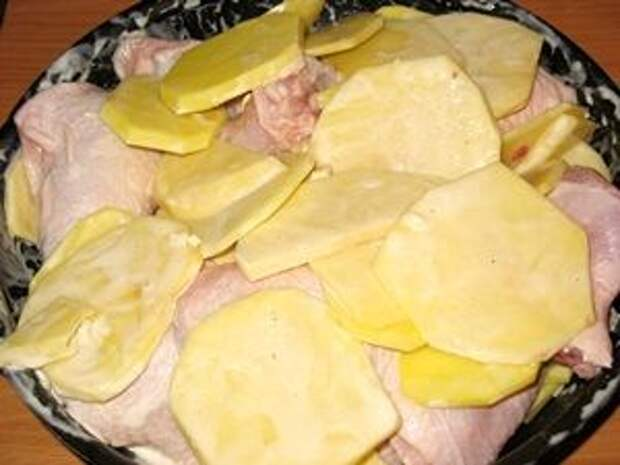 окорочка с картошкой на противне