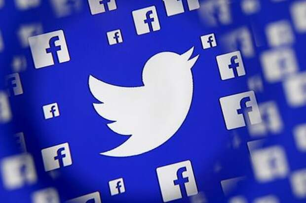 Logo of the Twitter and Facebook are seen through magnifier on display in this illustration taken in Sarajevo, Bosnia and Herzegovina, December 16, 2015. Broker's survey shows Twitter losing share to faster growing competitors such as Facebook's Instagram and Snapchat, despite co's multiple product and partnership launches this year, analysts write in note. REUTERS/Dado Ruvic