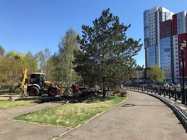 В Красноярске начали обновлять Юдинский сквер
