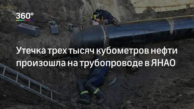 Утечка трех тысяч кубометров нефти произошла на трубопроводе в ЯНАО