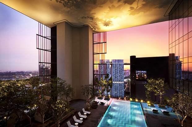Концепт отеля с зелеными насаждениями на этажах.